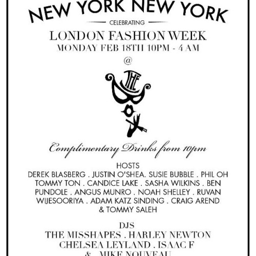 Get in on the #LFW party action with the original New York, New York party Monday night.  Co-hosted by your's truly