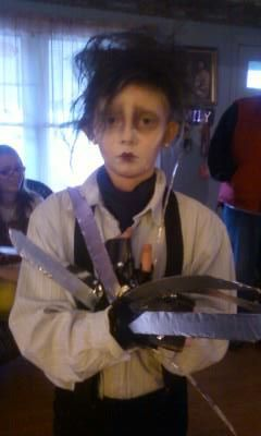 I made my little sister Edward Scissorhands.