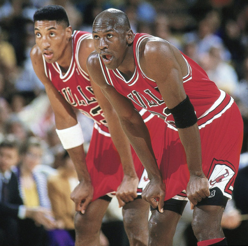 siphotos:  Michael Jordan and Scottie Pippen stand on the court during Game 5 of the 1991 NBA Finals against the Lakers. (John W. McDonough/SI) GALLERY: SI's 100 Best Michael Jordan PhotosGALLERY: Rare Photos of Scottie Pippen