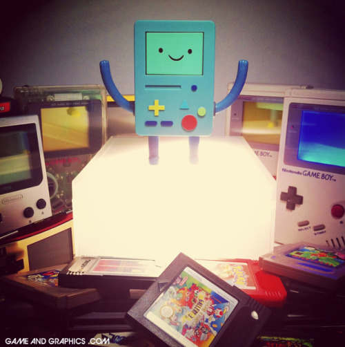 gameandgraphics:  Retrogaming party with Beemo and the Game Boy family to celebrate our Game Boy BMO t-shirt!