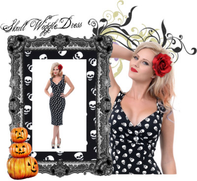 This dress is a phenomenal one dears, no bones about it! A quirky wiggle dress dearly departed from Steady in a fabulous black and white skull print!