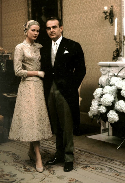 vintagebrides:  Grace Kelly and Prince Rainier shortly after their civil marriage ceremony in April 1956.  This suit, as well as her iconic wedding gown, was designed by Academy Award winning costume designer Helen Rose.