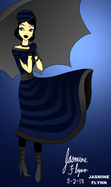 Blue Striped Dress. a digital drawing by me, Jasmine Flynn :)