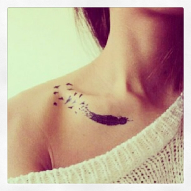 striking-like-lightning:  Such a cute little tattoo!🎀 #girl #tattoo #feather #birds #cute