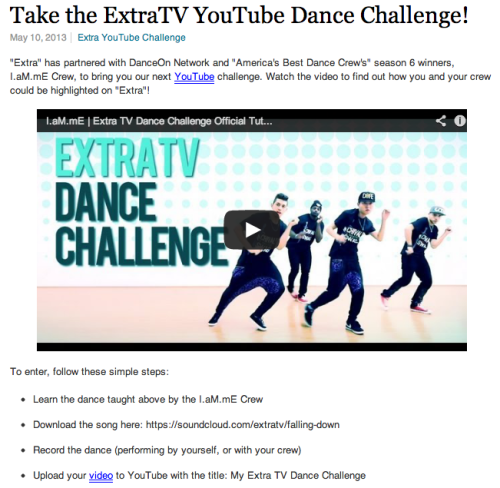 Check out I.aM.mE Crew's choreography and participate in the Extra TV Dance Challenge & you could appear on the show! Click here to learn the dance!