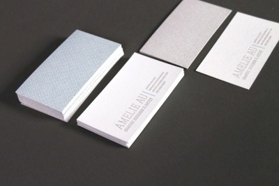 amelieau:  letterpressed business cards