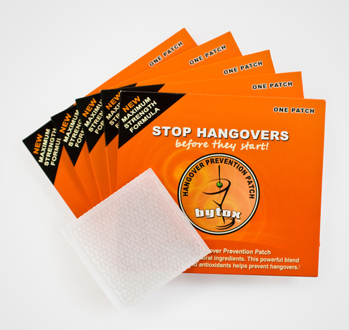 surplus-mag:  Bytox Hangover Prevention Patch For those who like to throw a few too many back, this hangover prevention patch is going to be your saving grace. Infused with a powerful blend of vitamins, nutrients and antioxidants—-slap on your arm and drink a few glasses of water and you can probably be good to go for a marathon come AM.