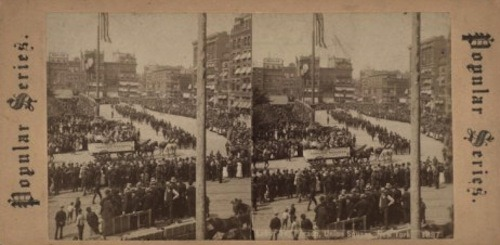 From the New York Public Library, a stereoscope of the Fireman's Parade on Labor Day, 1887 in Union Square.The first Labor Day celebration in New York took place in the square 5 years earlier when a parade of more than 10,000 workers marched up Broadway and past a reviewing stand in Union Square.Not only is it the last day you can tastefully wear white or seersucker (but we don't care), but Labor Day gives us occasion to honor the contributions to American labor rights and culture by slaves, indentured servants, union activists, women in the workplace, migrant workers and everybody who's driven a nail into our tallest buildings and soundest bungalows. Labor Day in stereoscope aptly reminds us of the many versions of truth, justice and liberty (and eight hours for what they will) inherent in our national, and now multi-national, dialogue about labor. Remember not to step on anyone's head on the way up, and always remember where you come from. And enjoy your weekend, courtesy of the labor movement.