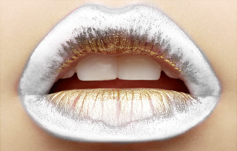 totallytransparent:  Semi Transparent Gold Encrusted Lips (matches colour of your blog - drag it!)Made by Totally Transparent