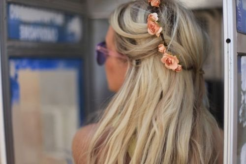 Fresh way to wear a flower crown: Gather your hair in a half pony, then use bobbies to secure.  dearlydeer:  Collection Decalz | Lockerz on @weheartit.com - http://whrt.it/10cZPQy