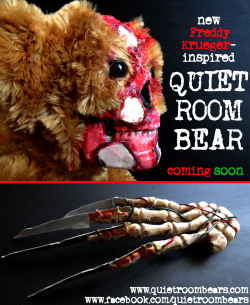 quietroombears:  Sneak Peek at the NEW 'Freddy Krueger-Inspired' Quiet Room Bear! Still a LOT left to go on this one, but this gives you a small taste of what is to come. www.facebook.com/quietroombears www.quietroombears.com