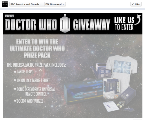 Win a TARDIS teapot, Doctor Who Yahtzee, more from BBCAmericaShop via Anglophenia:  The BBC America Shop Facebook page has launched an epic Doctor Who giveaway. All you need to do is like the page and you can enter the competition to win: a TARDIS teapot, Doctor Who Yahtzee, a sonic screwdriver universal remote control, and a union flag TARDIS T-shirt.