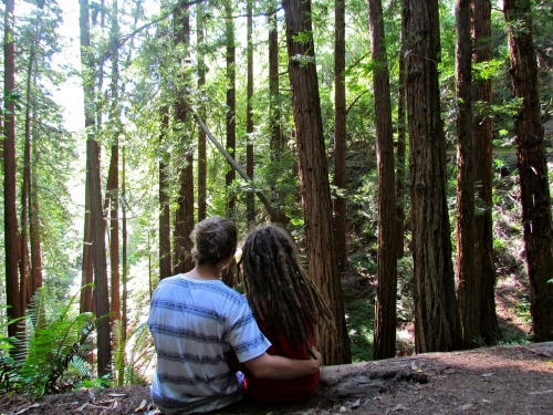 my boyfriend and I in the redwoods
