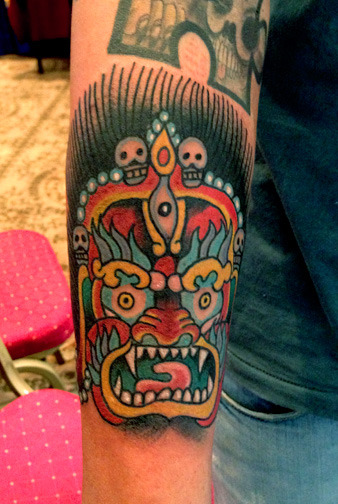 Mahakala by Robert Ryan done @ 3rd annual Nepal Tattoo convention Kathmandu Nepal-2013