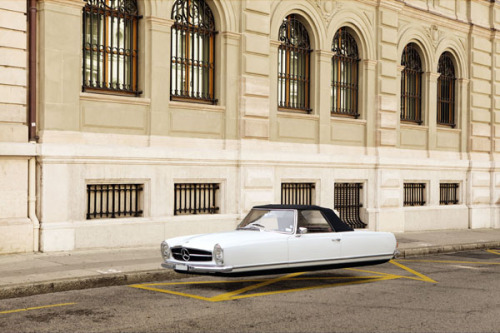 "Floating Classic Cars Paris-based photographer Renaud Marion created this photo manipulation series ""Air Drive"" of floating classic cars. The series features the old vision of cars in the future floating without the need of tires. But nowadays we still waiting for it. More images of the ""Air Drive"" photo series on WE AND THE COLORWATC//Facebook//Twitter//Google+//Pinterest"