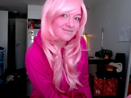 Princess Bubblegum makeup test. I finally found the hoodie and I'll get the proper wig next week. 8 )