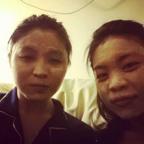 03162013 Sleepy but hanging out and catching up is #TooFun :) // Mud Masks with the #BestFriend, which really just looks like we don't know how to put on foundation haha // #Best #DateNight #Amigos #PA #Pennsylvania #Beautiful (at Media, PA)