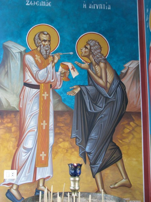 On the Fifth Sunday of Lent the Orthodox Church commemorates our Righteous Mother Mary of Egypt. The feast day of Saint Mary of Egypt is April 1, however, she is also commemorated on this Sunday due to her recognition by the Church as a model of repentance. The feast day of Saint Mary of Egypt is April 1, the day of her repose, however the Orthodox Church also commemorates the Saint on the Fifth Sunday of Lent. As a Sunday of Great Lent, the commemoration is celebrated with the Divine Liturgy of Saint Basil the Great, which is preceded by a Matins (Orthros) service. A Great Vespers is conducted on Saturday evening. Scripture readings for the Fifth Sunday of Lent are the following: At the Orthros (Matins): The prescribed weekly Gospel reading. At the Divine Liturgy: Hebrews 9:11-14; Mark 10:32-45. Saint Mary of Egypt is also commemorated on the Thursday before the Fifth Sunday of Lent, when her life is read during the Great Canon of Saint Andrew of Crete. A canon in her honor is read at the end of each Ode. In parish churches the service and the canon is most often conducted on Wednesday evening. Blessed Feast of Saint Mary of Egypt! May she intercedes for all of us, as we are coming closer to the Holy Week!