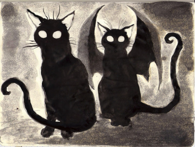 happyundertaker:  Sketchbook Black Cat Ghosts