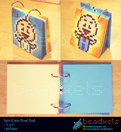 "beadxels:  Upin Ipin PixelPad POPULARITY: ★★★ CODE: PPUPNIPNS4x4 ______________________________ DESCRIPTION: 4"" x 4"" 80 pages RM18 NOTES: Paper size is fixed Rings are detachable. So, can add more paper! Colours cannot be customized Names can be added but, without names looks nicer :)"