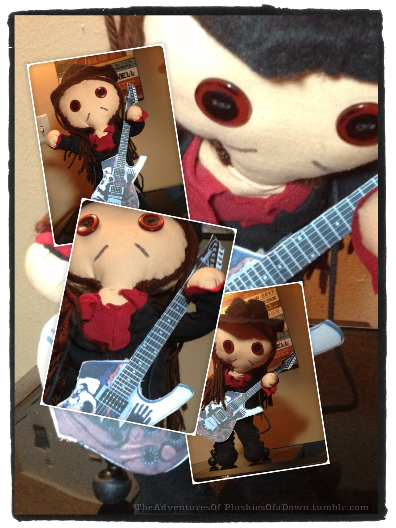 theadventuresof-plushiesofadown:  I caught Li'l D practicing a guitar solo…