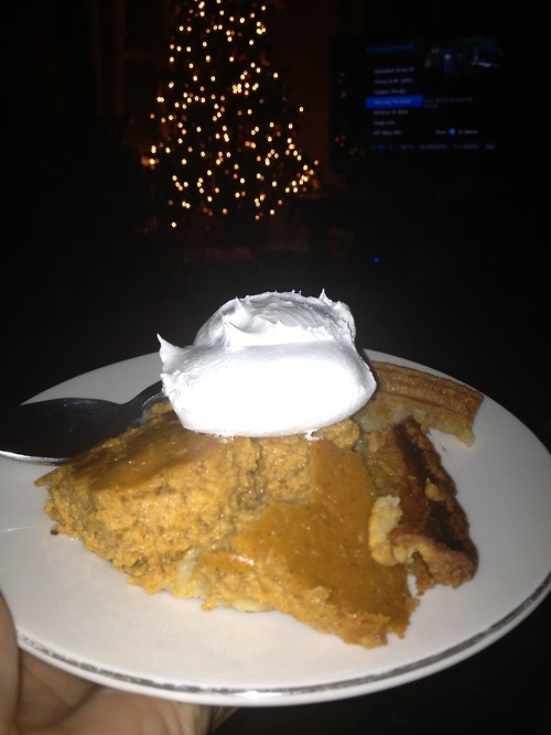 A slice of pumpkin pie with whipped cream to cheer me up 😍