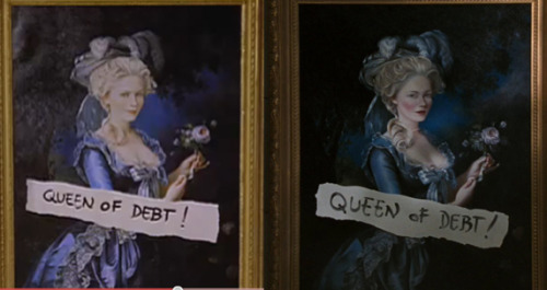 Tiny-librarian's post reminded me about the change between Sofia Coppola's Marie Antoinette teaser trailer and the final film: on the left is the painting of Kirsten Dunst as Marie Antoinette as seen in the teaser, and on the right is the final version used in the film.