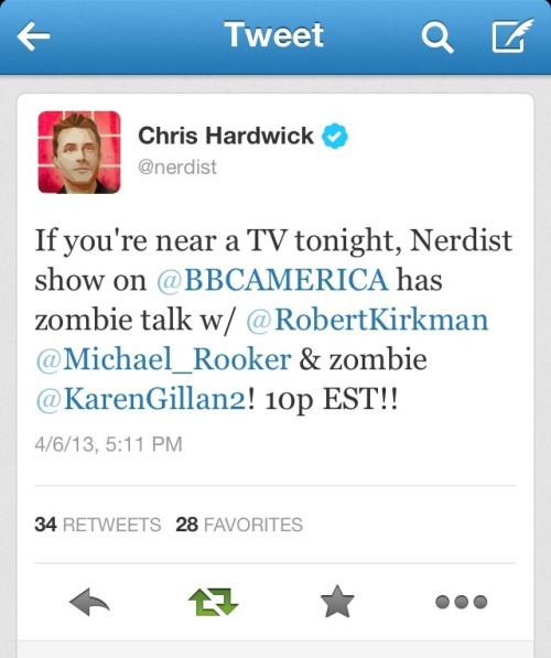 bbcamerica:  @nerdist: If you're near a TV tonight, Nerdist show on @BBCAMERICA has zombie talk w/ @RobertKirkman @Michael_Rooker & zombie @KarenGillan2! 10p EST!!
