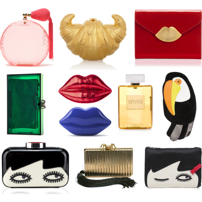 Playful Clutches 'Tis the season to bring out those frisky clutches. You know, the bags that spark a conversation with a cute boy at a cocktail party? Here's a display featuring mostly the 2 heavyweights in animated accessories — Charlotte Olympia and Lulu Guinness. We found a few of Lulu's lip clutches available at sweet prices eBay.  (Bags: Polyvore. Text by Jauretsi)