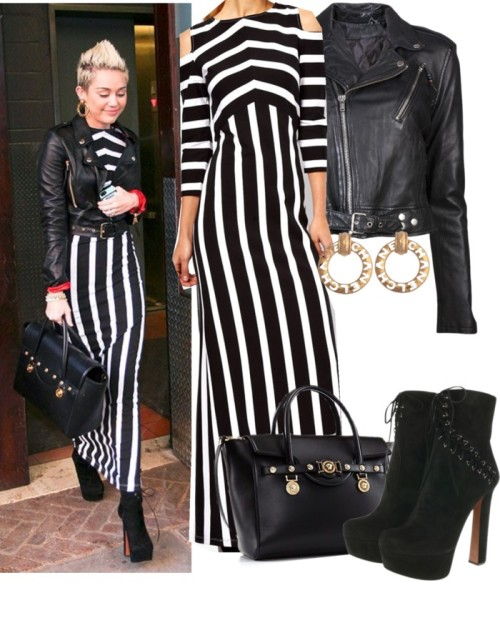 kathari-1d:   Miley Cyrus by keisha-xo featuring a cropped moto jacket ❤ liked on Polyvore