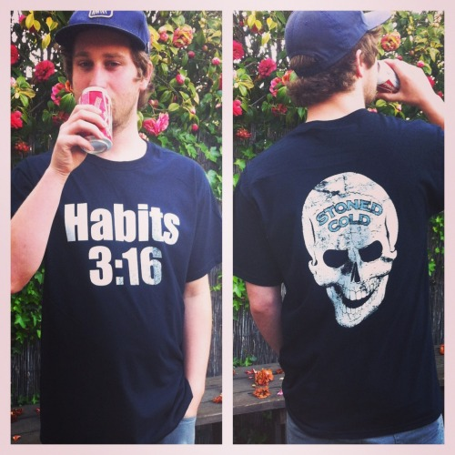 "darkartshomie:  JOHN JR'S ""HABITS 3:16"" TEES ARE STILL AVAILABLE IN THE BADD HABITS SHOP! COMES WITH A FREE ZINE TITLED ""STONED COLD"" THAT HAS A BUNCH OF MANIPULATED IMAGES OF THEE MAN HIMSELF. HABITS 3:16 SAYS I JUST GOT STONED."