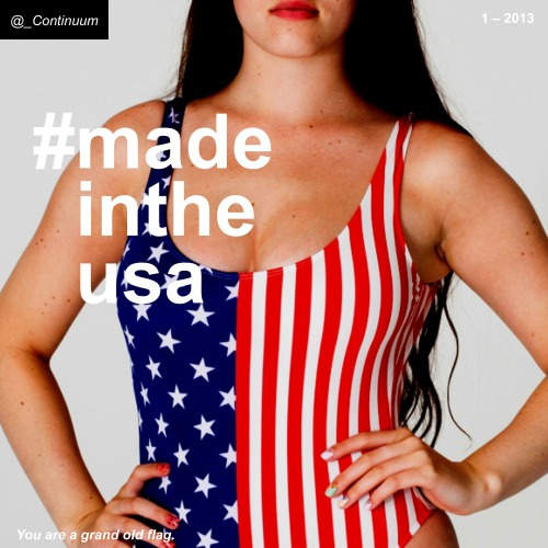 "nxtfuture:  #madeintheusa If there is anything Dov Charney and Rick Santorum can agree on, it's that the internet can be harsh American-made products are pretty great. Companies like GE, Apple and even the legendary Frisbee-maker Wham-O are relocating production of their wares stateside. While there is a solid business rationale – reduced shipping costs, protection of IP, ease of collaboration between the people who design the product and those that make it – there is an equally strong emotional component. Whether it signifies quality craftsmanship, a resurgence of our economy, or is just a rosy afterglow from the Olympics, people from Detroit to LA are bursting with a new nationalism that's satisfied by buying stuff labeled ""Made in the USA.""  ""GE's appliance unit does $5 billion in business—and today, 55 percent of that revenue comes from products made in the United States. By the end of 2014, GE expects 75 percent of the appliance business's revenue to come from American-made products like dishwashers, water heaters, and refrigerators, and the company expects that its sales numbers will be larger, as the housing market revives"" (The Atlantic). ""…In a survey last year of 1,300 affluent shoppers by Unity Marketing, a Pennsylvania-based consulting and marketing group, respondents ranked the United States first (higher than Italy or France) in perceived manufacturing quality of luxury goods"" (NYT). ""In an email to supporters of his grassroots group 'Patriot Voices' Tuesday, [Rick Santorum] unveiled a 'Made in the USA Christmas Challenge.' 'We want you to … buy as many Christmas and holiday presents as you can that are made right here in the U.S.,' reads the email from Santorum and his wife, Karen. 'As you hit the stores on Black Friday, be mindful of who's made what you're buying'"" (USNews). ""To some, this inauguration, in fact, may have been as much an occasion for celebrating the first lady's style… Her choices are safe but interesting, with enough of a story and a variety to keep fashion obsessives engrossed. Wearing a broad array of mostly American designers also feeds into the idea that she is doing her part for the fashion industry"" (NYT).  Implications:  We're going to have to learn how to make stuff again.  image via American Apparel"