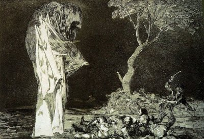 blackpaint20:  Goya's illustration for Poe's Masque of the red death.