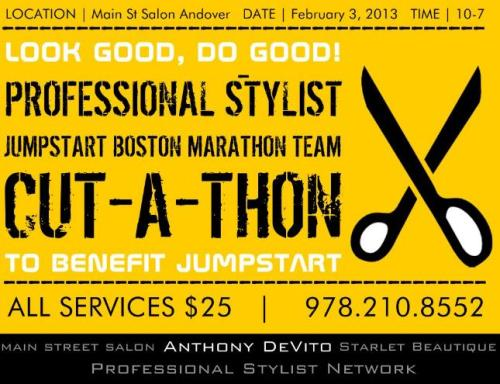 All  proceeds will be donated to The JUMPSTART (Boston Marathon Team) a national early education organization that recruits and trains college students and community volunteers to serve preschool children in low-income neighborhoods.