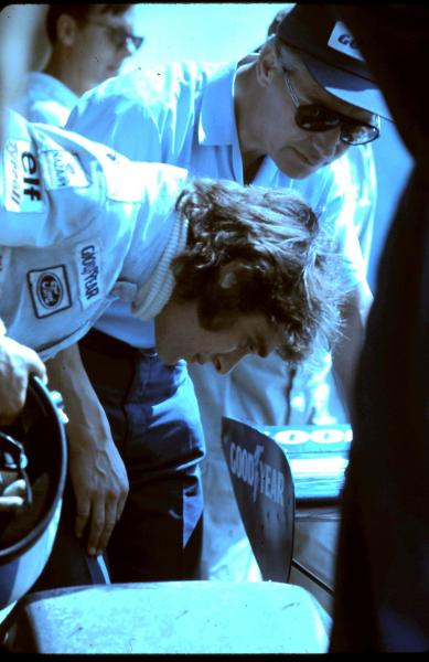 michael3900:  Francois Cevert checking tire wear on his Elf Tyrrell Ford.