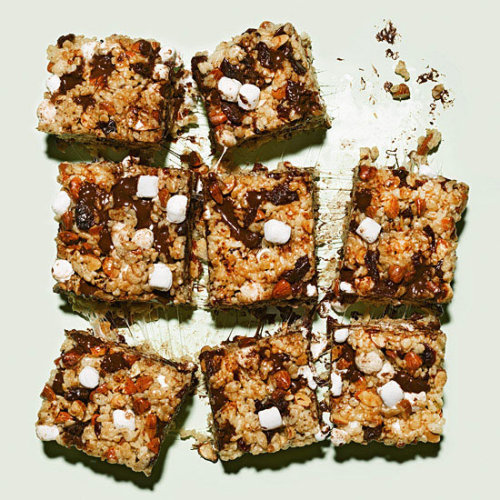 "Daily Bite: Coffee-Marshmallow Crispies with Chocolate & Cherries with Almonds ""This is like a Rice Krispies Treat meeting a grown-up trail mix: childhood meets adulthood, lowbrow meets highbrow. It's my 'don't take yourself so seriously' approach to baking."" —Christina Tosi, Pastry Chef at Momofuku Milk Bar"