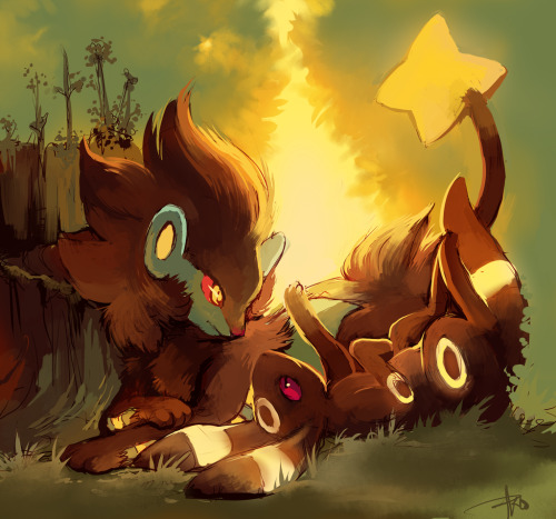 pokemonfourever:  Luxray and Umbreon by *purplekecleon