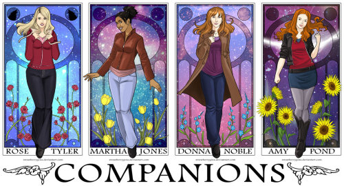 Dr.Who Companions - I wish Clara Oswald was in there too illustration by: http://strawberrygina.deviantart.com/