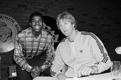 Classic Fridays. Magic Johnson and longtime rival Larry Bird pose for a shot at the 1979 NCAA Final Four. via Sports Illustrated vault