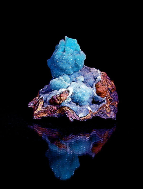 themineralogist:  Quartz over Chrysocolla on limonite matrix  Identifying minerals on sight: a bit harder than it looks.  Luckily, we have a few books for that.