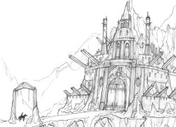 Castle Concept Design, November 2012. A laboratory within a mountain castle where a human prince conducts experiments on supernatural creatures to gain their magic powers.  Pencil, pen, and marker on tracing and toned paper.