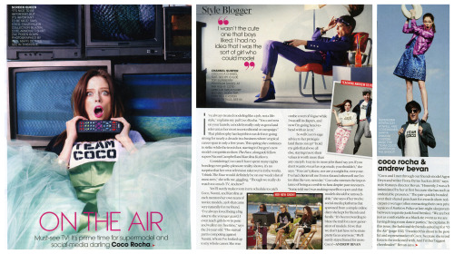 "Teen Vogue - On The AirMarch 2013In this month's Teen Vogue, my good friend Andrew Bevan asked me my thoughts on modeling, television and being accessible.  ""I've always treated modeling like a job, not a lifestyle,"" explains my pal Coco Rocha.  ""You can't rest on your laurels: a model is really only as good and relevant as her most recent editorial or campaign.""  That philosophy has kept this tour de force going strong for nearly a decade in a business where a typical career span is only a few years.  This spring she continues to strike while the iron is hot, starring in Oxygen's new model-competition show The Face, alongside fellow supers Naomi Campbell and Karolina Kurkova.     So will Coco's sage advice to her proteges land them on top?  ""I told my girls that above all else, staying true to their values is worth more than any one job.  I say no to more jobs than I say yes.  If you don't want to wear fur or go nude, you shouldn't"" she says.  ""You can't please, nor are you right for, everyone.  I've had clients tell me I'm too fat and others tell me I'm too thin the very next day.""  Coco also stresses the importance of being accessible to fans despite past naysayers.  ""Some told me I was making myself too open and that models should be untouchable,"" she says of her twelve social-media platforms that spawned from a simple online diary she kept for friends and family.  ""It's been rewarding to blaze the trail for a new generation of models.  I love that we don't just have to be mute pretty faces anymore.""   To read more go buy your copy today!"