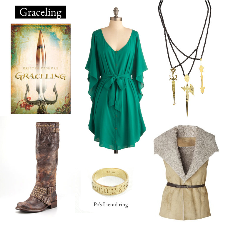 "Outfit inspired by Kristin Cashore's Graceling. ""Po could have mentioned that at the sight of his ring his people devolved into madness; but she would act now and contemplate her annoyance later.""  You and Me Forever Dress 