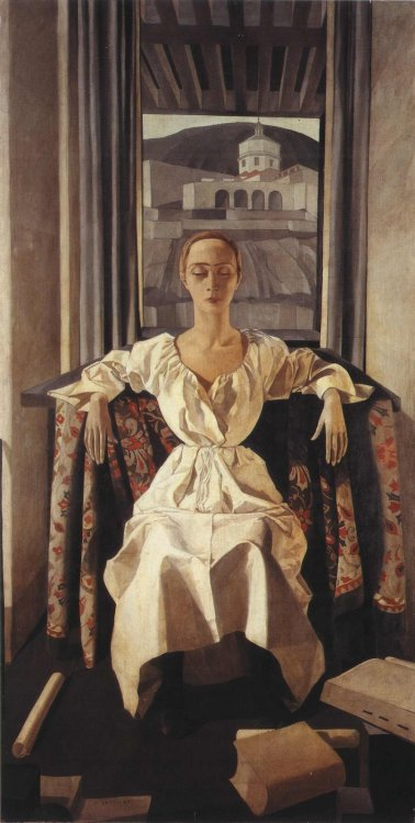 books0977:  Portrait of Silvana Cenni (1922). Felice Casorati (Italian, 1883–1963). Tempera on canvas.  This symmetrical composition of a seated woman in a white dress is perhaps the best-known of the artist's works. In it, the careful rendering of volumes results paradoxically in a sense of unreality; this is characteristic of Casorati's art and it connects him to the metaphysical painters.