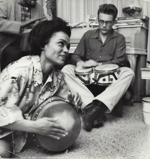 James Dean & Eartha Kitt at a party in NYC, 1954.