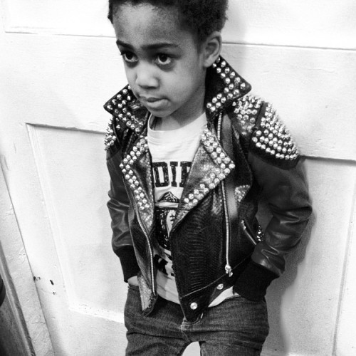 Little @hairmankeith rocking #exclusive #touredesigns #motorcycle #jacket #fashion