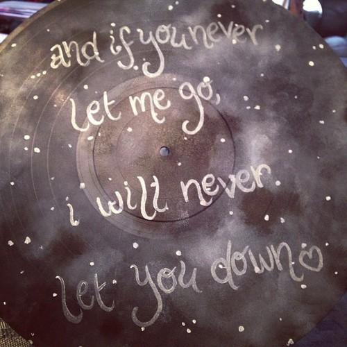 Gaslight Anthem inspired painted record, with a night sky and lyrics! Available on Etsy