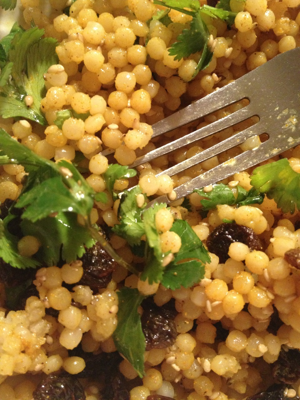 Breakfast~ Israeli couscous with extra virgin olive oil cilantro raisins curry turmeric sea salt and sesame seeds ahmmmmm