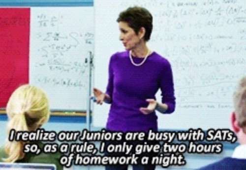 """the-misadventures-of-lele:  psychogemini:  deathtasteslikechicken:  abs-gabs:  SOMEONE FINALLY SAID IT  So if a teenager is at school for roughly 8 hours, and they are doing homework for 6+ hours, and they need AT LEAST 9 HOURS OF SLEEP FOR THEIR DEVELOPING BRAINS, then they may have 0-1 hours for other activities like eating, bathing, exercise, socializing (which is actually incredibly important for emotional, mental, and physical health, as well as the development of skills vital to their future career and having healthy romantic relationships among other things), religious activities, hobbies, extra curriculars, medical care of any kind, chores (also a skill/habit development thing and required by many parents), relaxation, and family time? Not to mention that your parents may or may not pressure you to get a job, or you might need to get one for economic reasons.  I will never not reblog this  """"…but teenagers have no reason to be stressed."""""""