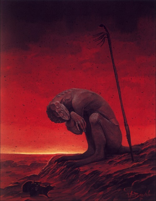 moonzerotwo:  Dawn of the Endless Night - Wayne Barlowe  Quite often you might be going through your dashboard and see a photograph such as this one, and pay no heed or mind to the concept the artist is trying to portray. It took me a few ups and downs to acquire the thought and energy to reblog this. At first I just pegged it as a medium for a post apocalyptic world. The barren landscape, the harshness of the colors and the gradual darkening of the sky gives us a preamble for a nuclear fallout. Looking closely to the details of the serpentine humanoid, the appendages and details are incredibly reptilian in origin. But, the softness of the hands dexterous pose, the bipedal nature of its legs and the strength and curvature of its back gives in to the idea of a mutation. Something possibly resembling a human in origin. Looking at the depth of the landscape and the arid terrain, one could have assumed this to be an alien world, different from our own. Although this idea is quickly dismissed. Upon inspecting the two rats at the bottom, one would assume most animals of mammalian origin would have possibly been the first to die out, (due to the sensitivity of our bodies and the lack of any plant-life whatsoever) if a nuclear disaster had truly consumed this world. This gives us light into the possibility that other organisms have survived and are possibly mostly scavengers, such as these. Looking at the spear its design closely resembles an Arthropod, having six extrusions that resemble the legs of some sort of insect. Possibly giving us some light as to its origin. The use of tools is one of the most distinct characteristics humans have developed over the centuries, the fact that this creature is adept at using objects to better itself might indicate that this organism, at some point was in fact possibly human. By observing the sensitivity in its pose it could possibly be emaciated, expiring or suffering from the seldom solitude such a world would provoke to any sentient creature…Another way of viewing this photograph would be in a psychological point of view.The sensitivity in the figures pose and the harshness of the red hues, gives use to the fleeting emotion of rage and sadness. The barren landscape and the solitude of this creature also denotes isolation as well as possibly depression. Ostracizing, remorse, grief all of these feelings flow into the center of this piece. The depicted savage nature of the this piece can also be viewed as the decline of sustainability, as a singular species awaits its eminent demise.. While another awaits its next meal..